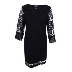 Style & Co. Black Lace 3/4 Sleeve Mid-Thigh Dress